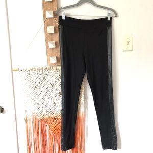Zara Black Knit Faux Leather Tuxedo Stripe Pants